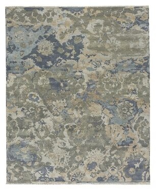 17 Stories Leonia Hand-Knotted Wool Beige/Azure Rug Rug Size: Rectangle 5' x 8'