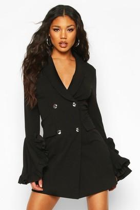 boohoo Frill Sleeve Blazer Dress