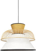 Market Set - Yellow and White Linen Pendant Lamp Mekko - linen | Rattan | yellow - Yellow/Yellow