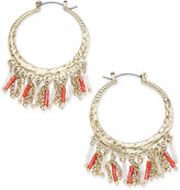 Thalia Sodi Gold-Tone Beaded Chain Hoop Earrings, Only at Macy's