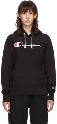 Champion Reverse Weave Black Big Script Logo Hoodie