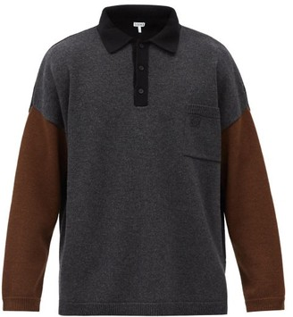 Loewe Colour-block Oversized Cashmere-blend Sweater - Dark Grey