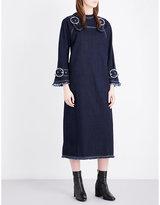 Topshop buckle-detailed denim pini dress