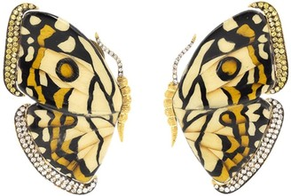 Silvia Furmanovich 18kt yellow gold diamond Marquetry Butterfly earrings