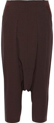 Rick Owens Creatch Cropped Jersey-paneled Wool Harem Pants