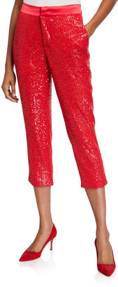 Loyd/Ford Sequined Cropped Tuxedo Pants