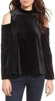 Moon River Women's Lace-Up Cold Shoulder Velvet Top