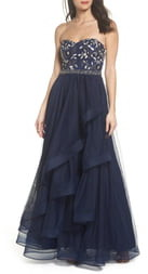 Sequin Hearts Strapless Lace & Tulle Gown