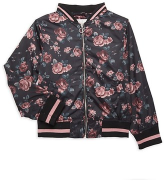 Urban Republic Little Girl's Satin Floral Bomber Jacket