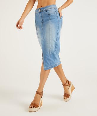 Suzanne Betro Weekend Women's Denim Skirts 101LIGHT - Light Blue High-Waist Slit-Front Denim Midi Skirt - Women & Plus