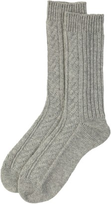 Johnstons of Elgin Silver Aran Cable Mens Cashmere Socks
