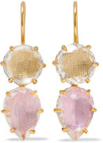 Larkspur & Hawk - Caterina Gold-dipped Quartz Earrings - one size