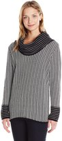 Calvin Klein Women's Cowl Neck with Grid Stripe