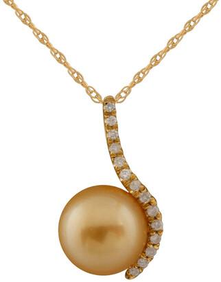 Splendid Pearls 14K 0.12 Ct. Tw. Diamond & 10-10.5Mm South Sea Pearl Necklace