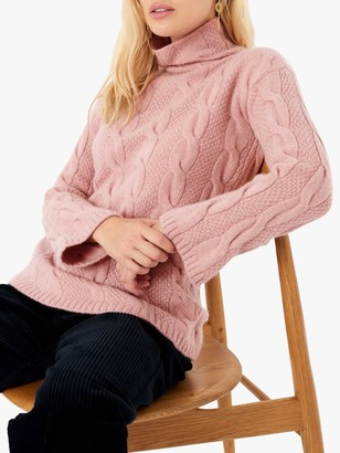 Brora Cashmere Funnel Neck Cable Knit Jumper, Shell