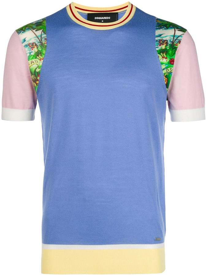 DSQUARED2 colourblock print knitted T-shirt