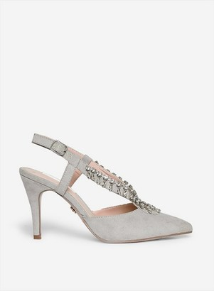 Dorothy Perkins Womens Showcase Wide Fit Grey 'Gemini' Slingback Court Shoes, Grey