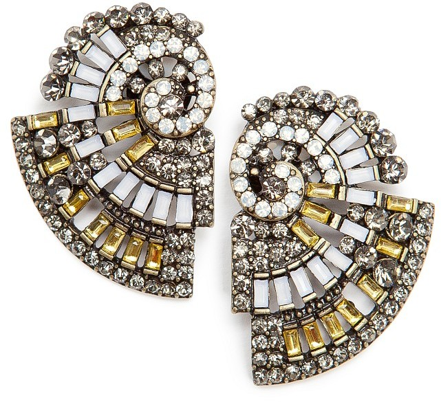 MANGO TOUCH - Crystals shell earrings