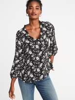 Ruffle-Trim Faux-Wrap Georgette Top for Women