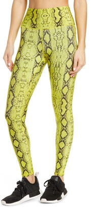 Terez Lime Faux Python Embossed Leggings