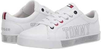 Tommy Hilfiger Arrin Logo II (Little Kid/Big Kid) (White Smooth/Silver) Kid's Shoes