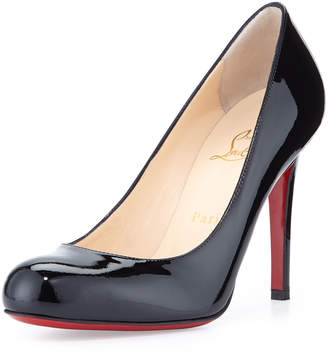 Christian Louboutin Simple Patent Red Sole Pumps, Black