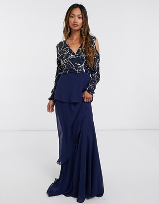 Virgos Lounge embellished maxi dress with wrap front in navy
