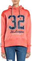 Superdry NEW Tri League Slouch Hoodie Red