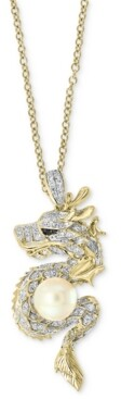 "Effy Cultured Freshwater Pearl (8mm) & Diamond (5/8 ct. t.w.) Dragon 18"" Pendant Necklace in 14k Gold"