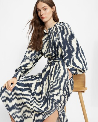 Ted Baker Printed Long Sleeved Midi Dress Cuffs