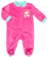 Cutie Pie Baby Dark Pink Deer Appliqué Footie