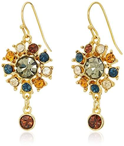 Swarovski Ben-Amun Jewelry Arabian Nights Crystal Button Drop Fish Hook Drop Earrings