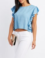 Charlotte Russe Chambray Ruffle-Trim Crop Top
