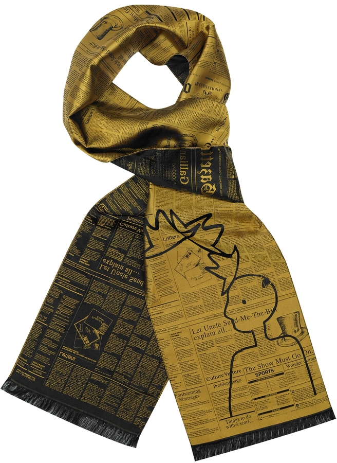 John Galliano Woven Silk Long Scarf