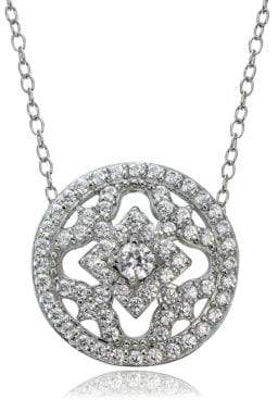 dd1aac041b0c3 Cubic Zirconia and Sterling Silver Medallion Pendant Necklace
