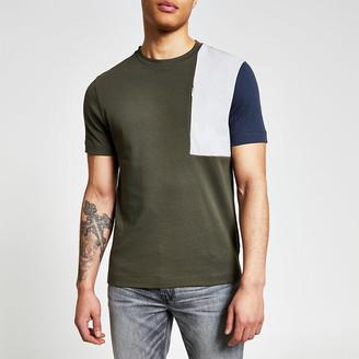 River Island Khaki colour blocked regular fit T-shirt