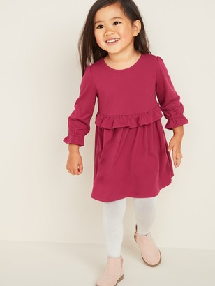 Old Navy Ruffled Fit & Flare Brushed Jersey Dress for Toddler Girls