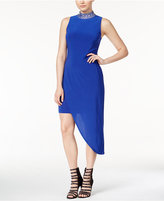 B. Darlin Juniors' Embellished Asymmetrical-Hem Sheath Dress