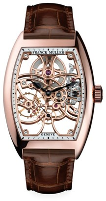 Franck Muller Cintree Curvex Skeleton Rose Gold & Alligator Strap Watch