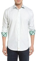 Thomas Dean Men's Classic Fit Neat Floral Print Sport Shirt