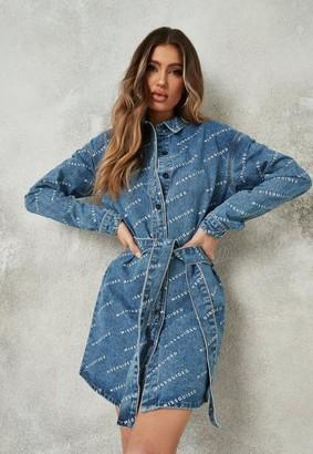 Missguided Blue Repeat Print Denim Shirt Dress