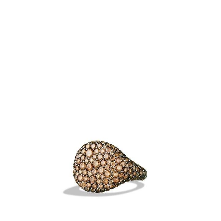 David Yurman Pavé; Pinky Ring with Cognac Diamonds in Gold