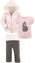 Yoga Sprout Girls' Yoga Pants Lace - Pink & Gray 'Fox' Hoodie Set - Toddler & Girls