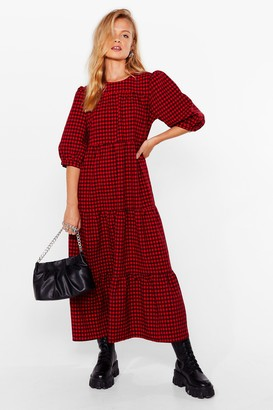 Nasty Gal Womens Gingham a Chance Puff Sleeve Midi Dress - Red - 4