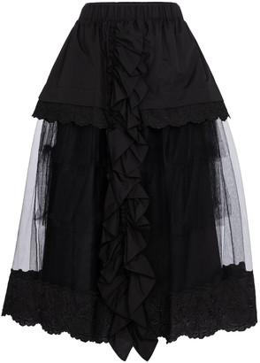 Simone Rocha Cotton and tulle midi skirt
