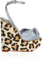Charlotte Olympia Miranda Satin And Calf Hair Wedge Sandals - Leopard print