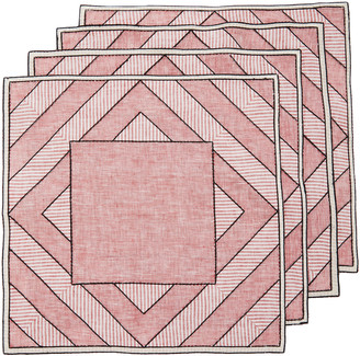 Los Encajeros Set-Of-Four Red Striped Linen Placemats
