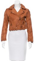 Doma Cropped Leather Moto Jacket