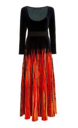 Proenza Schouler Belted Tie-Dyed Velvet Maxi Dress