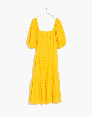 Madewell Solid & Striped Puff-Sleeve Cover-Up Peasant Dress in Yellow Plaid